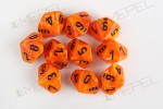 Kości Chessex - kostka k10 Vortex Orange/black