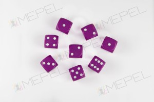 Kości Chessex - kostka k6 12mm Opaque Light Purple/white