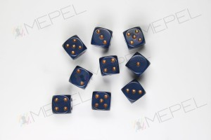 Kości Chessex - kostka k6 12mm Opaque Dusty Blue/gold