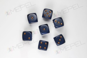 Kości Chessex - kostka k6 16mm Opaque Dusty Blue/gold