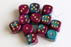 Kości Chessex - kostka k6 16mm Gemini Purple-Teal/gold