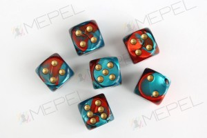 Kości Chessex - kostka k6 16mm Gemini Red-Teal/gold