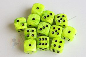 Kości Chessex - kostka k6 16mm Vortex  Bright Green/black