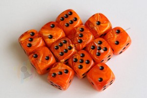 Kości Chessex - kostka k6 16mm Vortex Orange/black