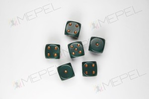 Kości Chessex - kostka k6 16mm Opaque Dusty Green/gold
