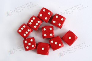 Kości Chessex - kostka k6 12mm Opaque Red/white
