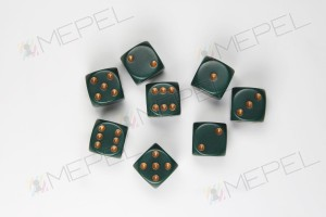 Kości Chessex - kostka k6 12mm Opaque Dusty Green/gold